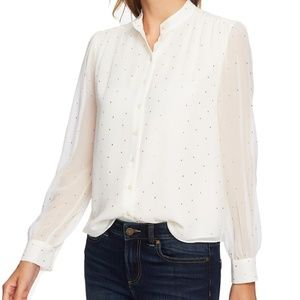 Cece Puff Sleeves Button Down Blouse White NWT